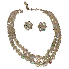 AB Faceted Crystal Double Strand Necklace & Clip Earrings