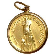 Our Lady Of The Rosary Of Fatima 18K Medal