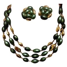 Costume Choker Necklace & Earring Set Green & Gold