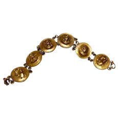 Gilded Copper Punch Out Coin Bracelet