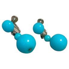 Turquoise Dangle Screw Back Earrings
