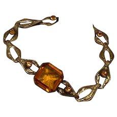 Brass Amber Glass Bracelet