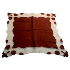 Brown Handkerchief With Brown & White Border