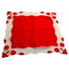 Red Handkerchief With Red & White Border