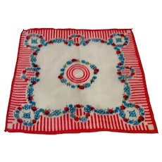 Red & Blue Floral Handkerchief