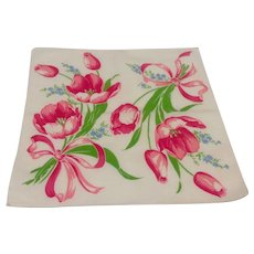 White Handkerchief With Red Tulips