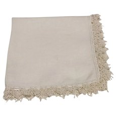 White Handkerchief With White Crocheted Edge