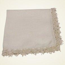 White Handkerchief With White Crocheted Edge