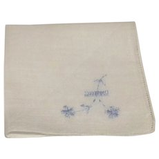 White Hanky Blue Embroidered Flowers