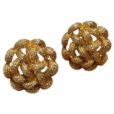 Textured Gold Tone Clip Earrings
