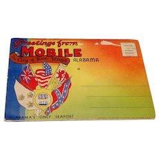 1950's Souvenir Postcard Foldout Mobile, Alabama