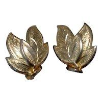 Coro Leaf Clip Earrings Gold Tone