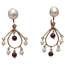 14K Dangle Pearl & Garnet Earrings Screw Back