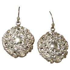 English Sterling Button Dangle Earrings Antique