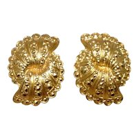 Gold Tone Metal Clip Earrings