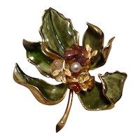 Francois 3D Enameled Floral Brooch