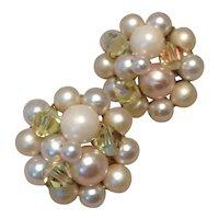 Faux Pearl & Crystal Clip Earrings Japan