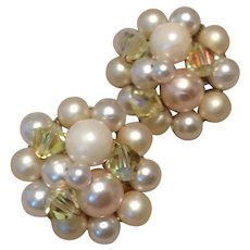 Faux Pearl & Crystal Clip Earrings Japan