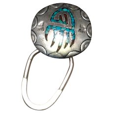 Sterling Enamel Key Ring Native American