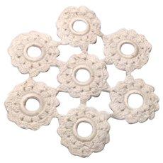 "White Hand Crocheted Piece 7"" In Diameter"