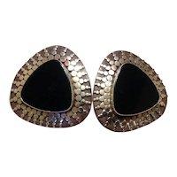 Mexico Sterling Black Onyx Earrings