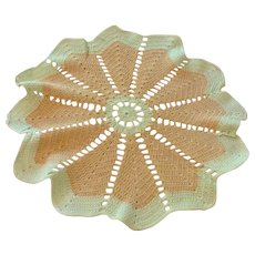 "Hand Crocheted Beige & Green Doily 14"" In Diameter"