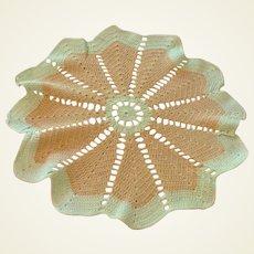 "Hand Crocheted Beige & Green Doily 14"" In Diameter"