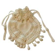 "Hand Crocheted White Purse 7 1/2"" X 6"""