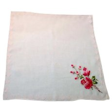Embroidered Red Rose Handkerchief
