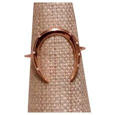 Upcycled 14K Gold Horseshoe Stickpin Ring