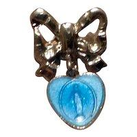 Silver Tone Enamel Miraculous Medal Brooch
