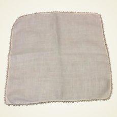 White Cotton Handkerchief Tatting Edge