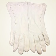 White Cotton Beaded Dress Gloves
