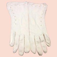 White Cotton Beaded Dress Gloves