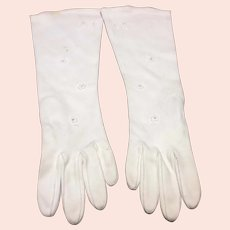 White Cotton Floral Dress Gloves