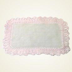 White Dresser Scarf Pink Crocheted Edge
