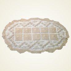 "Ecru 16"" X 9 3/4"" Crocheted Piece"