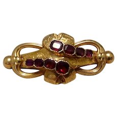 18K Victorian Garnet Watch Pin Brooch