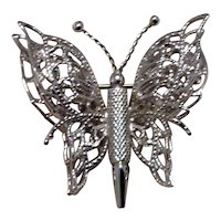 Silver Tone Monet Butterfly Brooch Dimensional