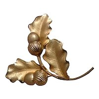 12K Gold Filled Acorn Leaf Brooch