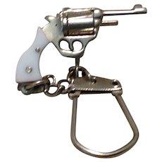 Silver Tone Mechanical Pistol Key Chain