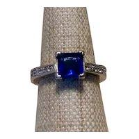 Faux Sapphire & Faux Diamond Ring Sterling Size 7 1/2