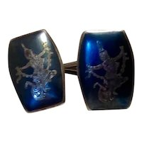 Siam Sterling Black Enameled Niello Cufflinks