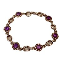 12K Gold Filled Amethyst Flexible Link Bracelet