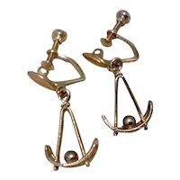 Gold Filled Dangle Earrings Screw Back