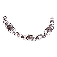 Sterling Floral Link Bracelet