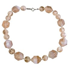 Pink Faceted Crystal Bead Necklace Silver Spacers