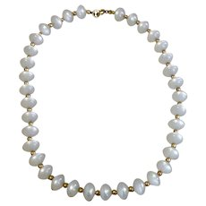 White Bead Necklace Gold Spacers