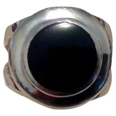 Sterling Black Onyx Ring Size 6 3/4