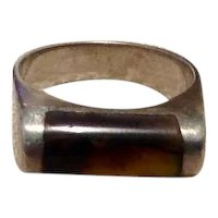 Native American Sterling Tiger Eye Ring Size 5
